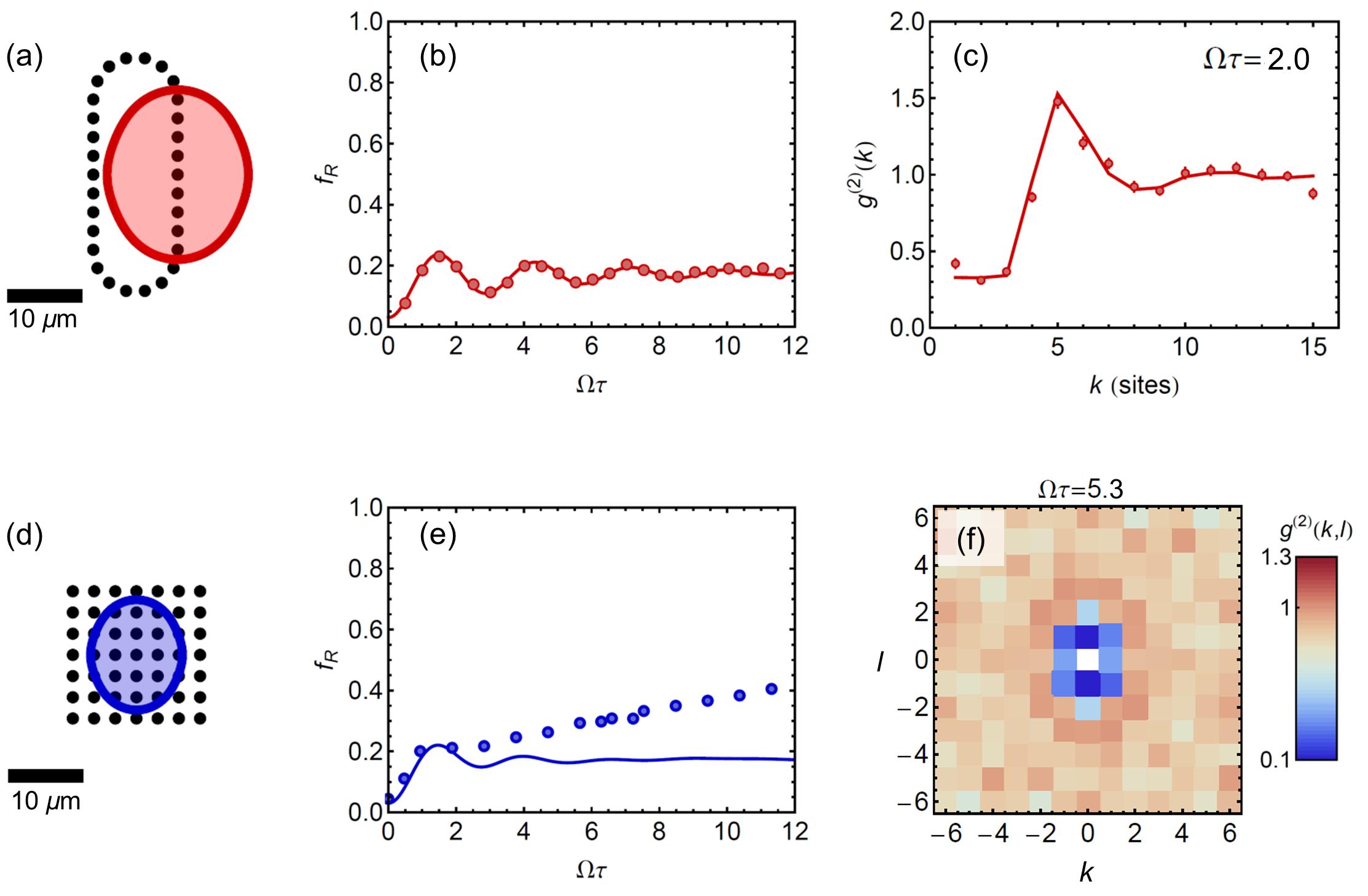 Si nos fijamos bien, en la figura (e) podemos ver una diferencia entre los datos experimentales (circulos) y la teoría (linea azul): esto es posiblemente debido a que la teoría utilizada esta simplificando demasiado el problema